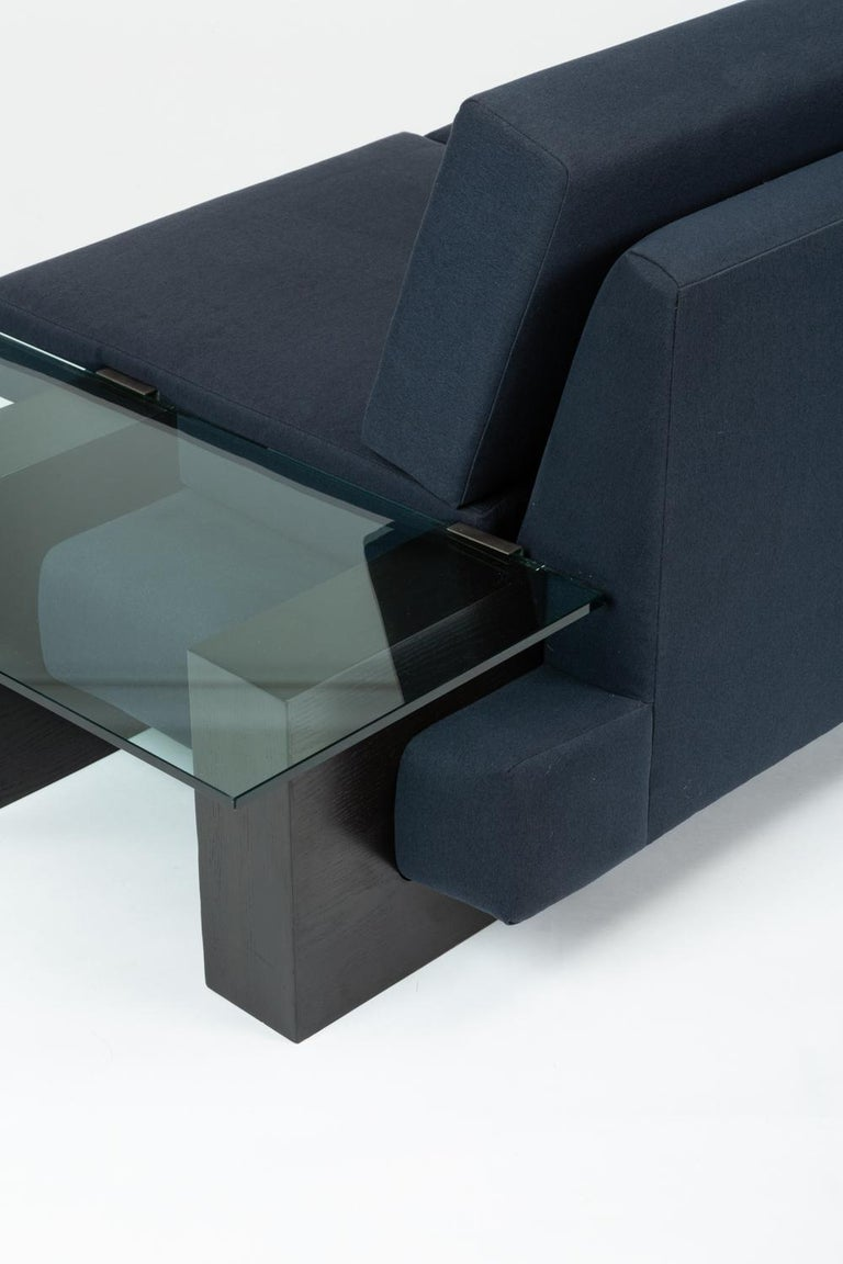 Mid-Century Modern American-Made Sofa with Glass End Tables