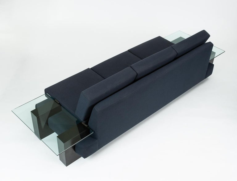 Ebonized American-Made Sofa with Glass End Tables