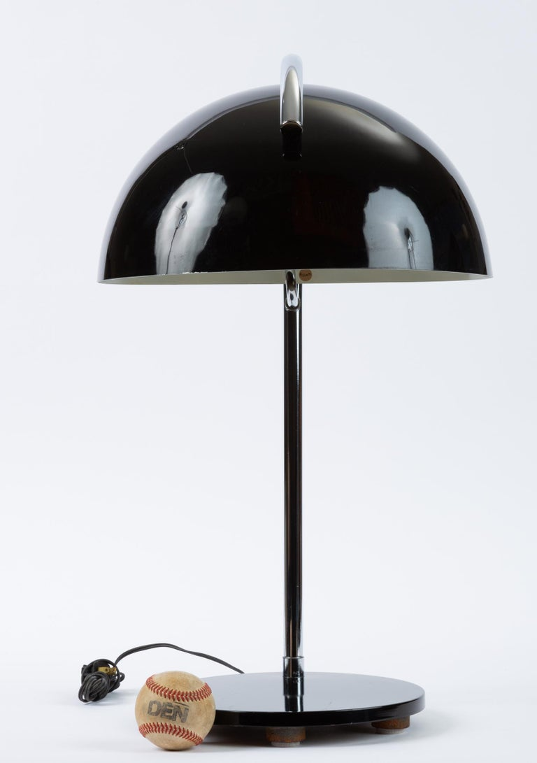 Enameled American-Made Table Lamp with Mushroom Shade For Sale