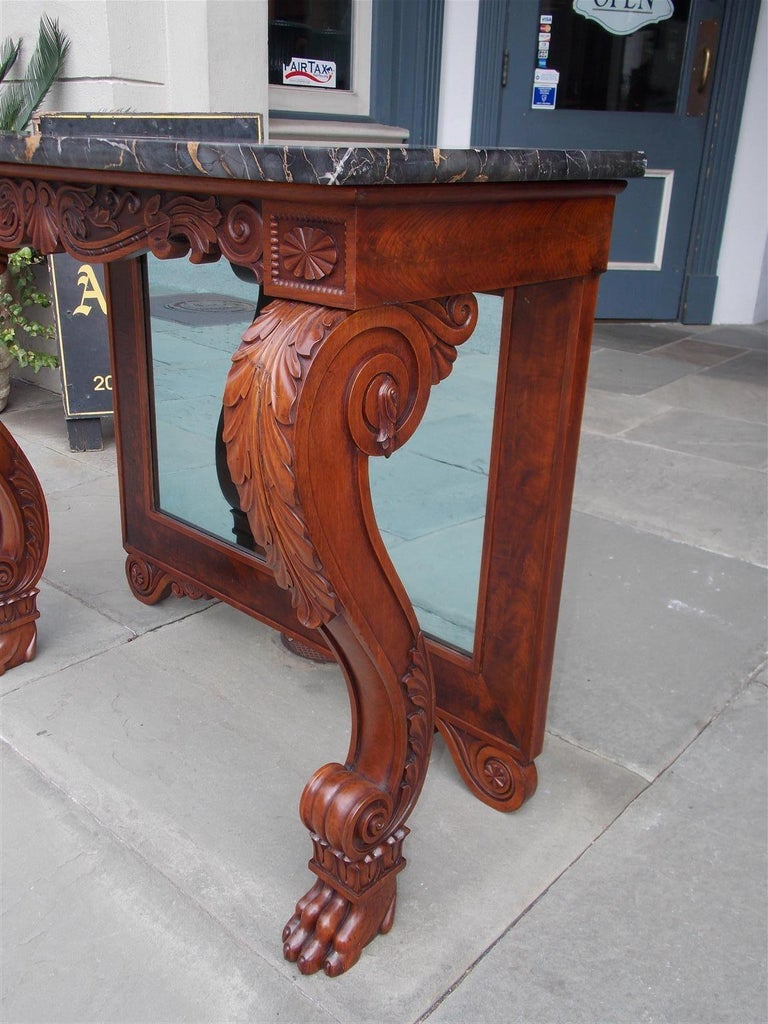American Mahogany Acanthus Mable-Top Console, Isaac Vose, Boston, Circa 1830 For Sale 4