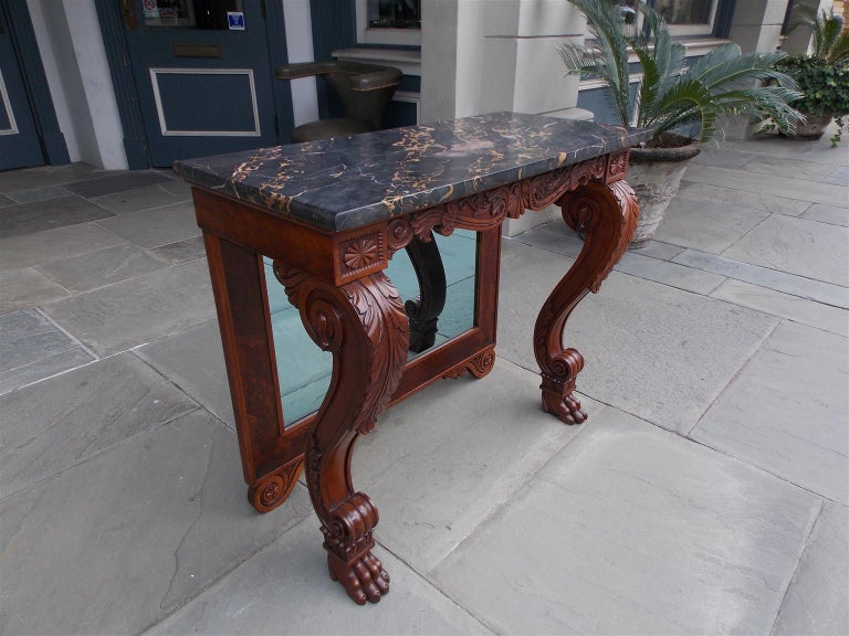 American Empire American Mahogany Acanthus Mable-Top Console, Isaac Vose, Boston, Circa 1830 For Sale