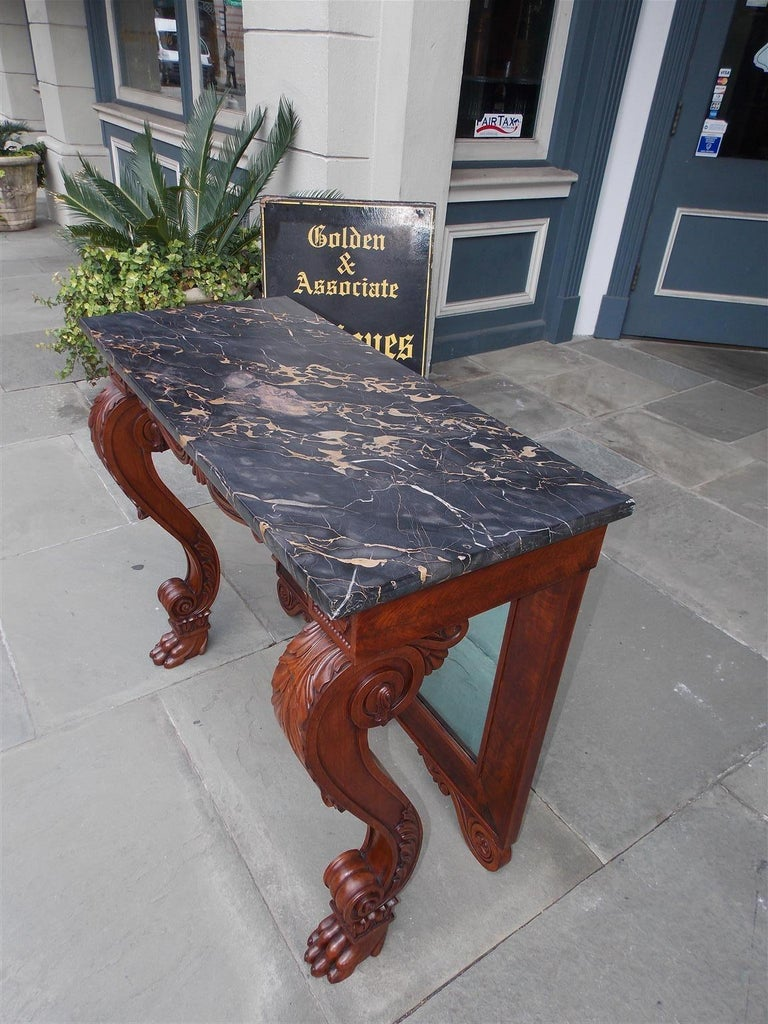 Hand-Carved American Mahogany Acanthus Mable-Top Console, Isaac Vose, Boston, Circa 1830 For Sale