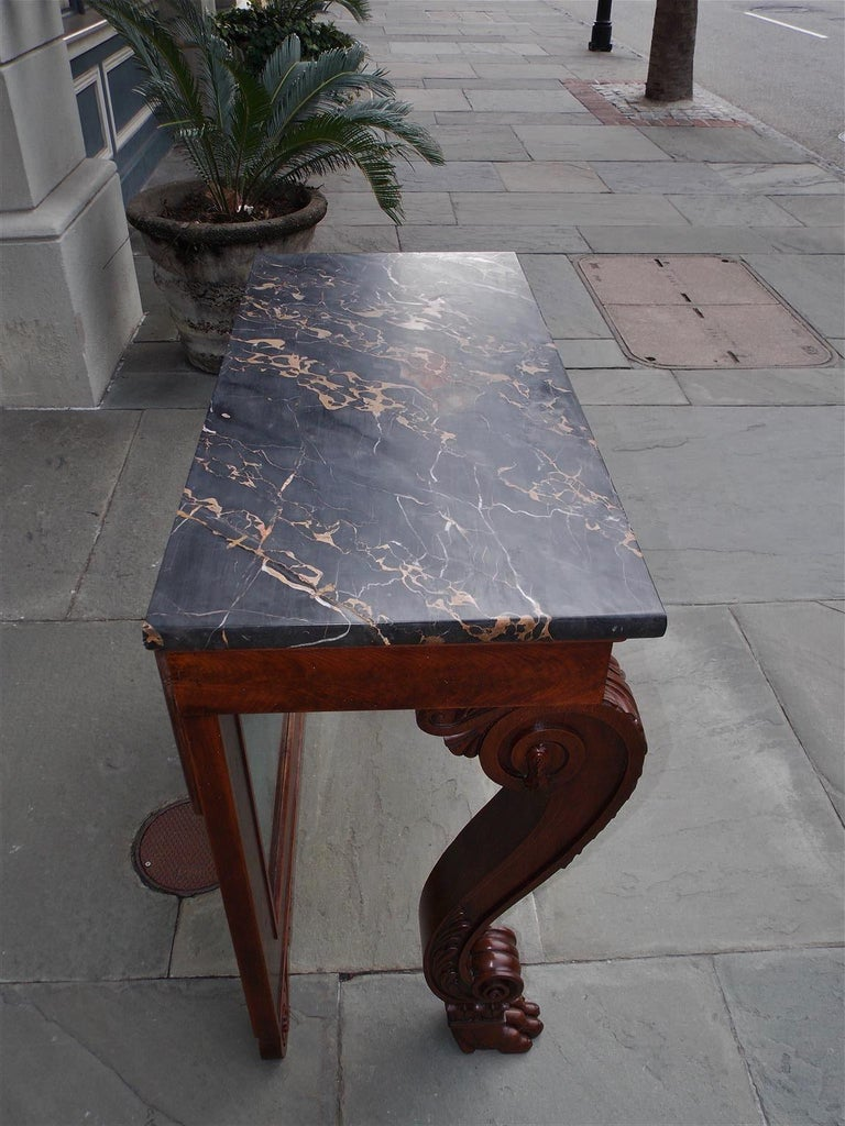 Mid-19th Century American Mahogany Acanthus Mable-Top Console, Isaac Vose, Boston, Circa 1830 For Sale