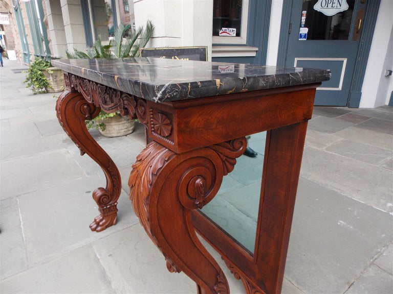 Glass American Mahogany Acanthus Mable-Top Console, Isaac Vose, Boston, Circa 1830 For Sale