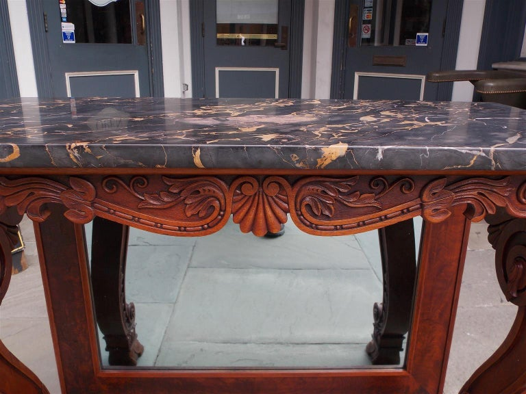 American Mahogany Acanthus Mable-Top Console, Isaac Vose, Boston, Circa 1830 For Sale 2