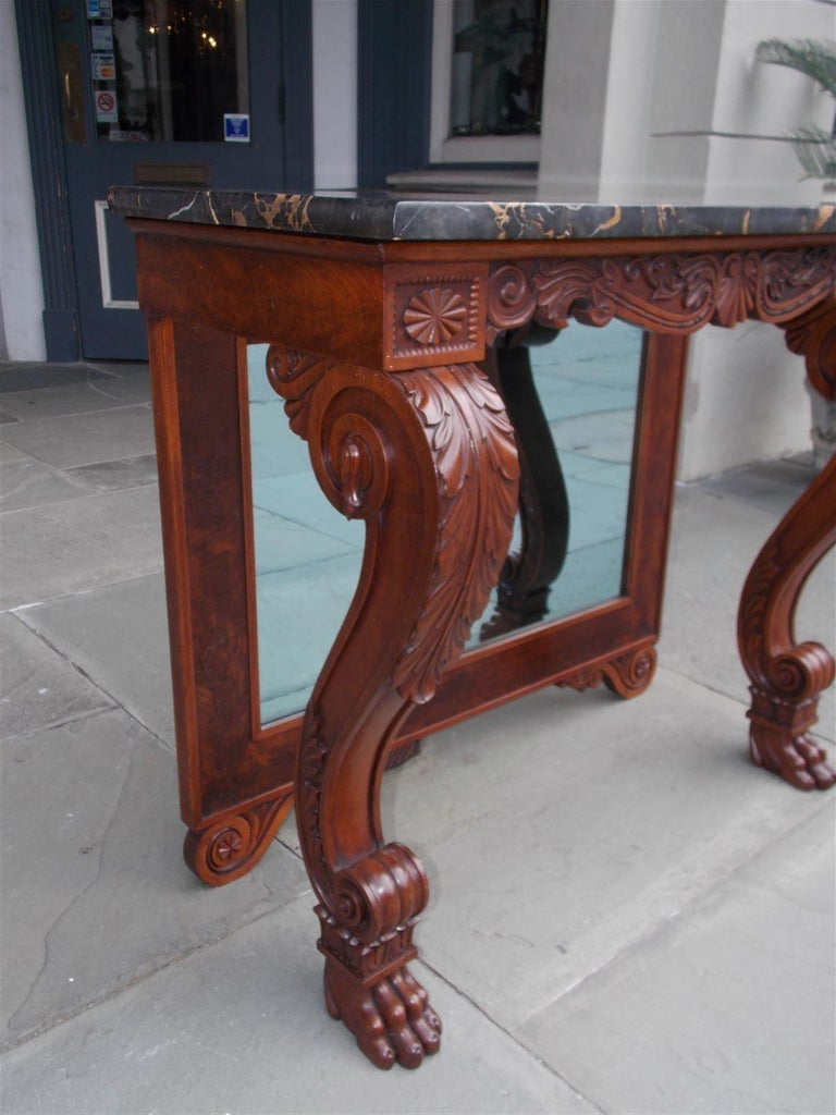 American Mahogany Acanthus Mable-Top Console, Isaac Vose, Boston, Circa 1830 For Sale 3