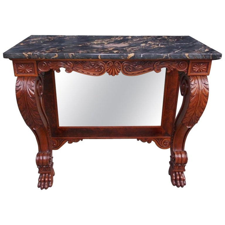 American Mahogany Acanthus Mable-Top Console, Isaac Vose, Boston, Circa 1830 For Sale
