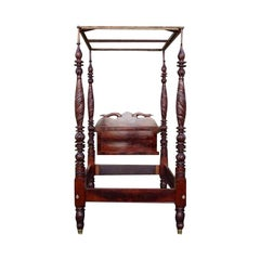American Mahogany Classical Acanthus Carved Four Poster Bed.  Circa 1815