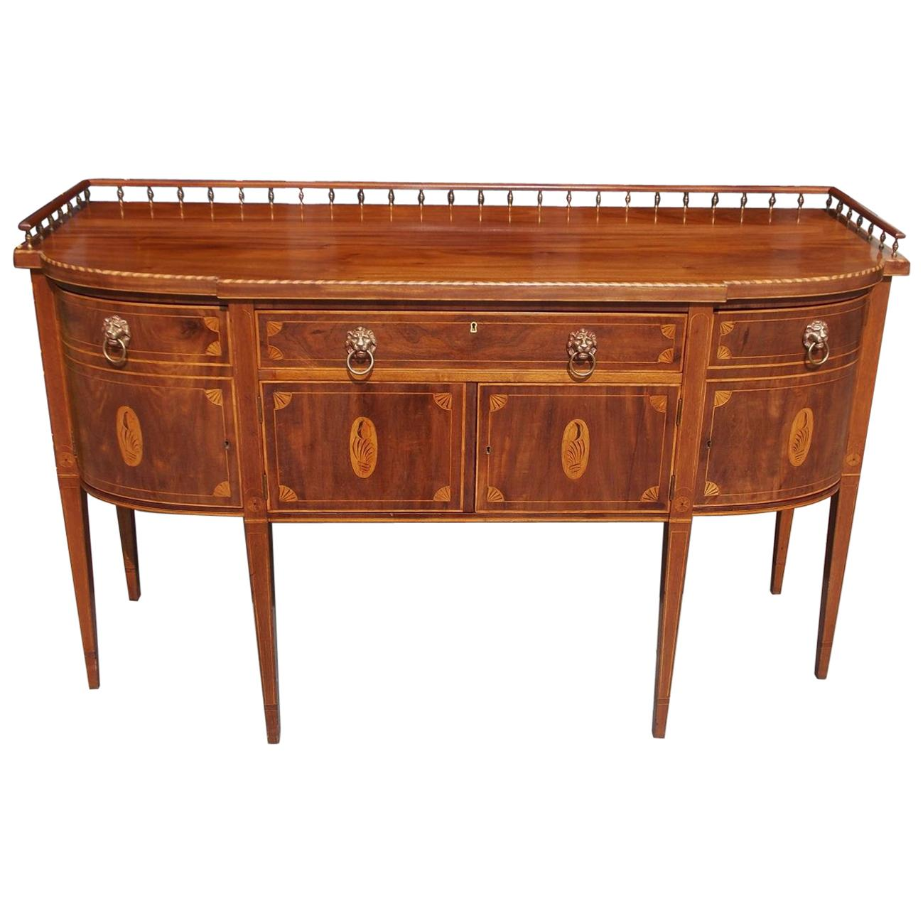 American Mahogany Gallery Sideboard with Conch Shell and Patera Inlays. C. 1840