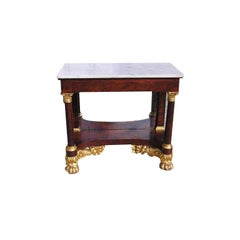 American Mahogany Gilt & Marble Top Cornucopia Pier Table.  Circa 1810