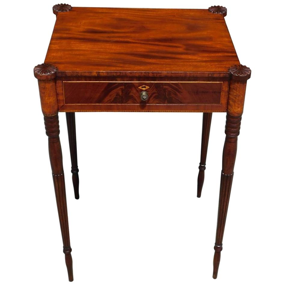 American Mahogany Inlaid Side Table with Carved Medallion Corners, NY Circa 1800