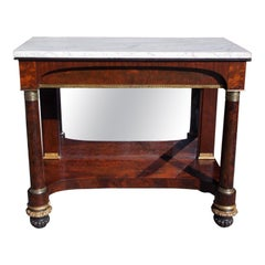 American Mahogany Marble Top and Gilt Stenciled Ormolu Console, NY, Circa 1815