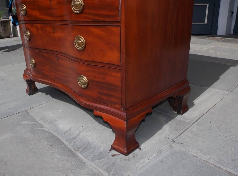 American Mahogany Oxbow Swan Neck Secretary with Bookcase, Salem, Ma. Circa 1790 For Sale 9