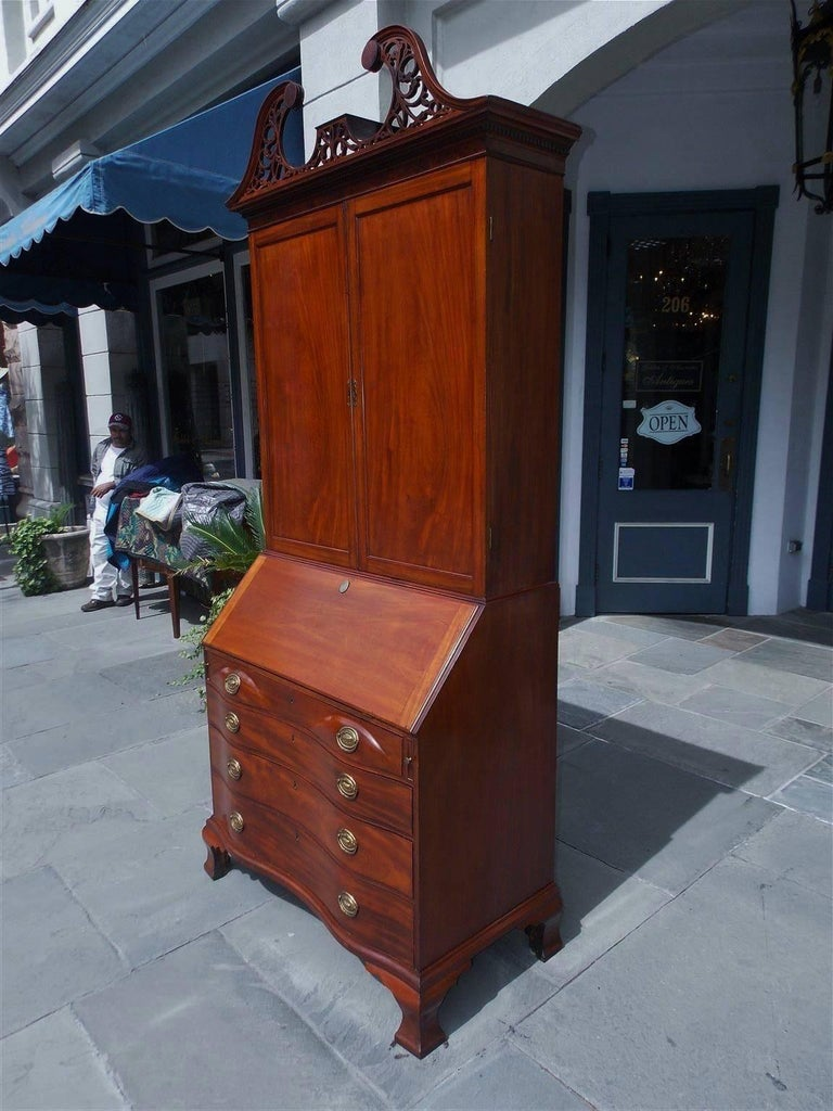 American Colonial American Mahogany Oxbow Swan Neck Secretary with Bookcase, Salem, Ma. Circa 1790 For Sale