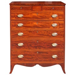 American Mahogany Tall Case Satinwood Inlaid Chest . Circa 1790