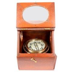 American Mahogany Wood Antique Magnetic Binnacle Nautical Compass, circa 1896