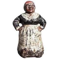 American Mammy Cast Iron and Painted Door Stop, circa 1880
