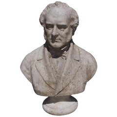 American Marble Bust of President John Quincy Adams on Circular Plinth, C. 1850