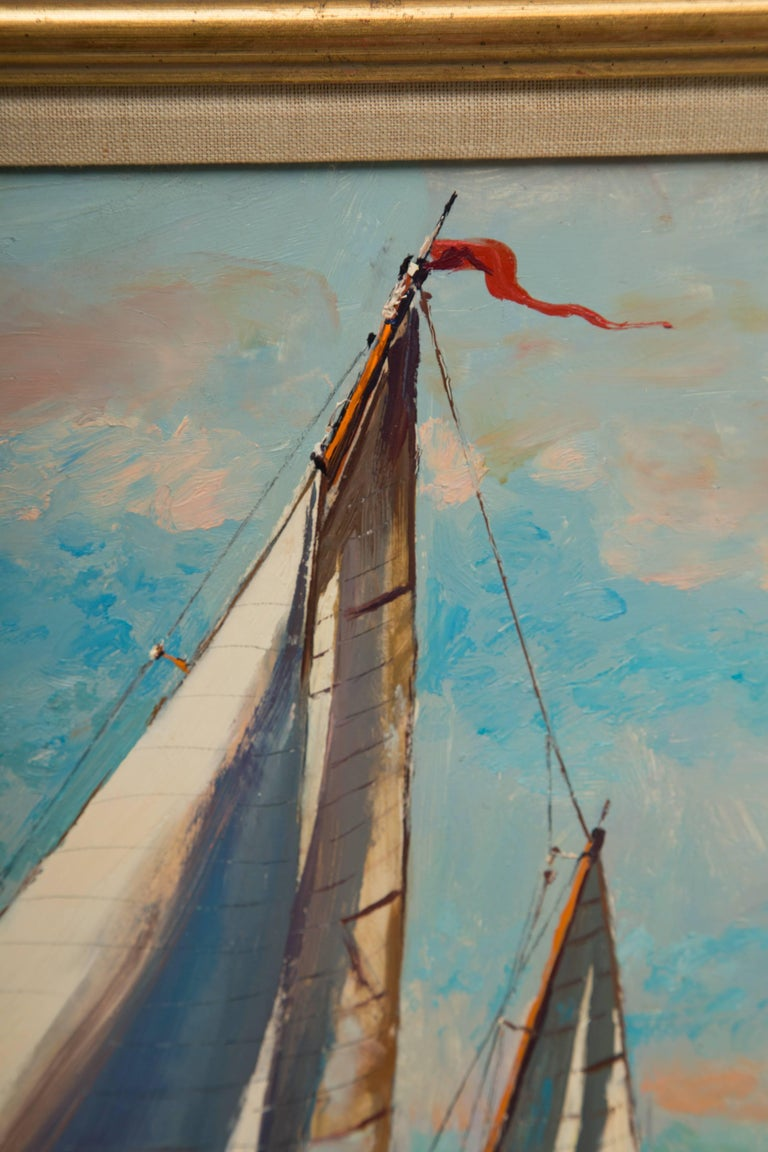 Other American Marine Oil on Board by Wayne Morrell For Sale