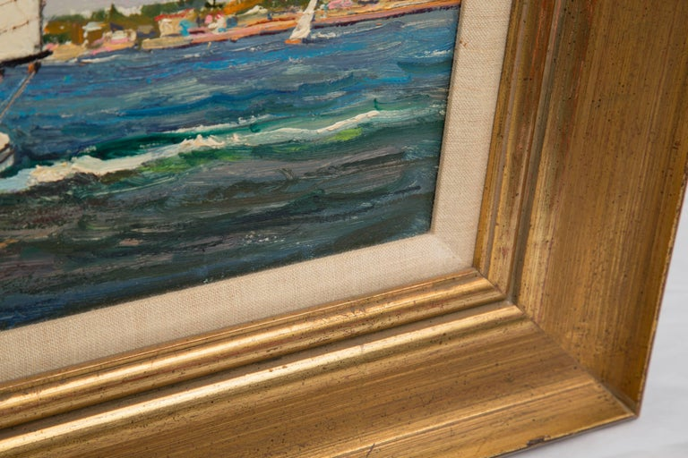 American Marine Oil on Board by Wayne Morrell In Good Condition For Sale In WEST PALM BEACH, FL