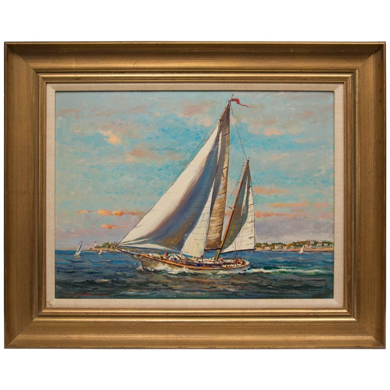American Marine Oil on Board by Wayne Morrell For Sale