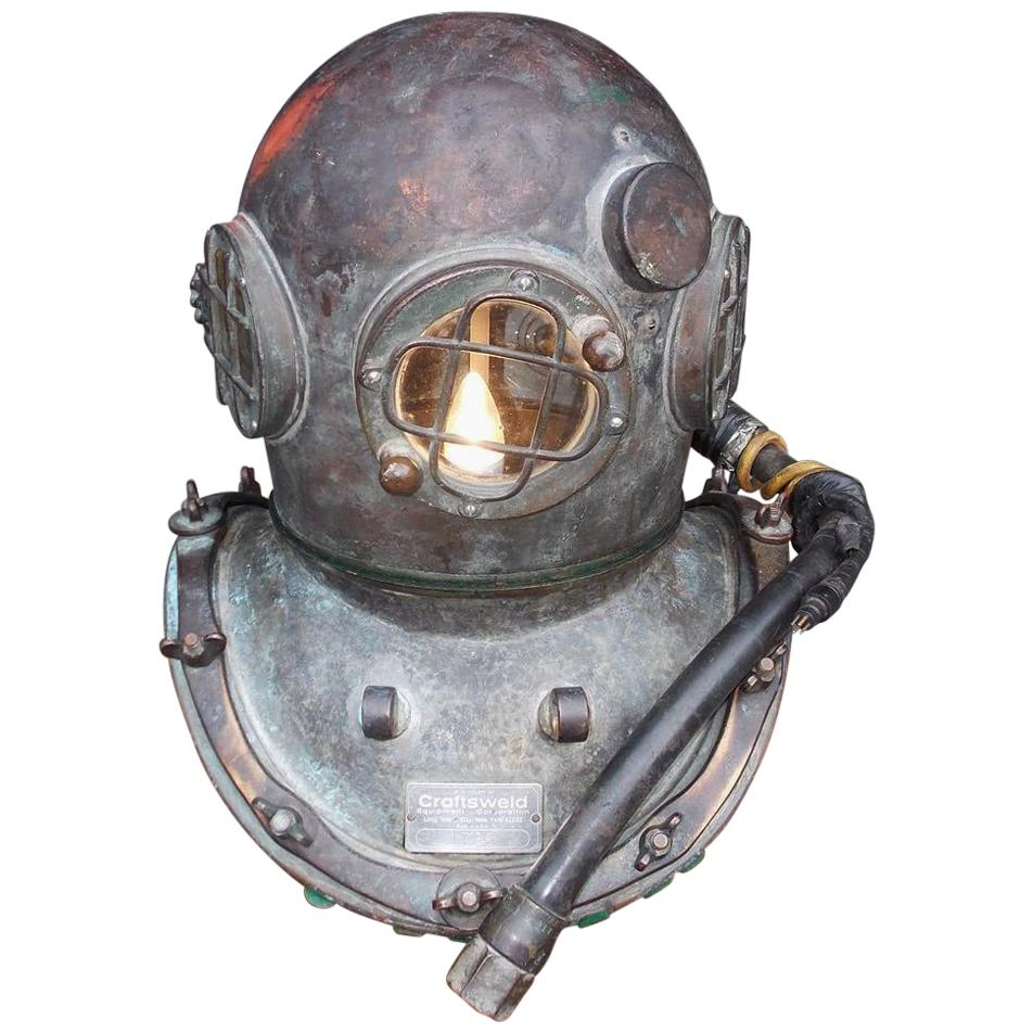 American Maritime Copper and Brass Deep Sea Divers Helmet on Stand, Circa 1930