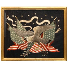 American Market Large Japanese Eagle & Flag Silkwork