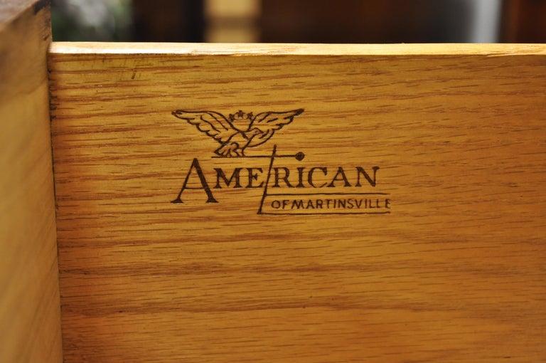 American Martinsville Walnut Louvered Drawer Mid Century Modern Dresser Credenza For Sale 7