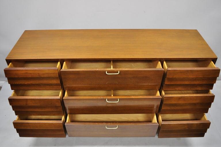 Mid-Century Modern American Martinsville Walnut Louvered Drawer Mid Century Modern Dresser Credenza For Sale