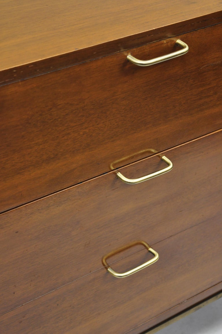 20th Century American Martinsville Walnut Louvered Drawer Mid Century Modern Dresser Credenza For Sale