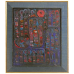American Midcentury Abstract Modernist Painting with Figures