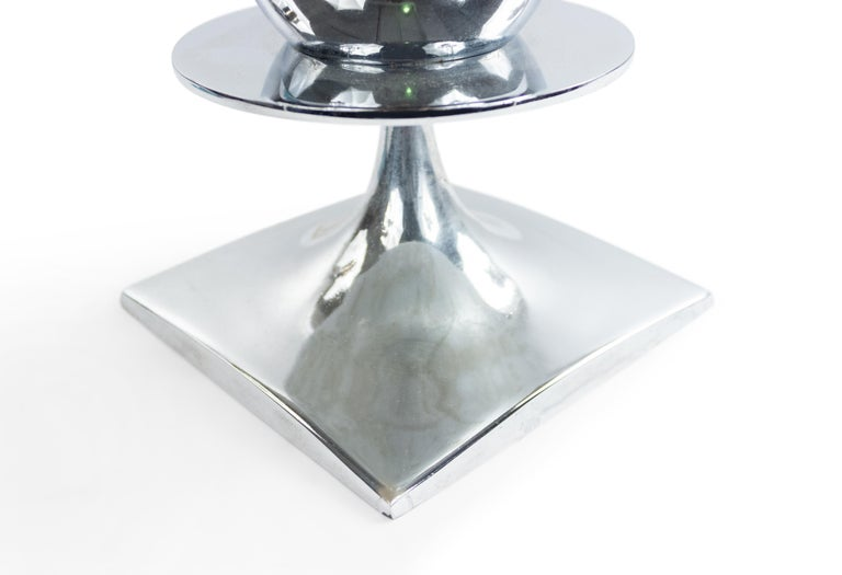 American Midcentury Chrome Table Lamp In Good Condition For Sale In New York, NY