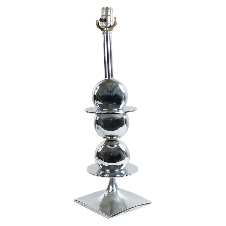 American Midcentury Chrome Table Lamp For Sale