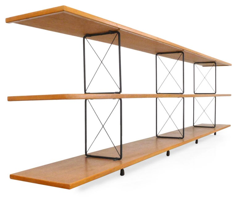 Mid-Century Modern American Midcentury D.I.Y. Wood and Iron Shelving Unit For Sale