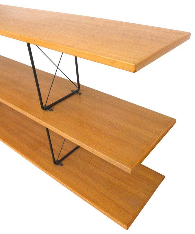 Mid-20th Century American Midcentury D.I.Y. Wood and Iron Shelving Unit For Sale