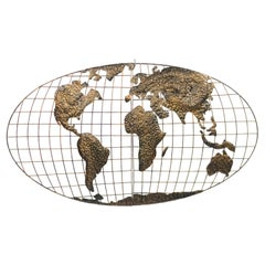 American Mid-Century Gold World Map Plaque