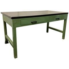 American Midentury Green Painted Industrial Black Slate Top Two-Drawer Desk