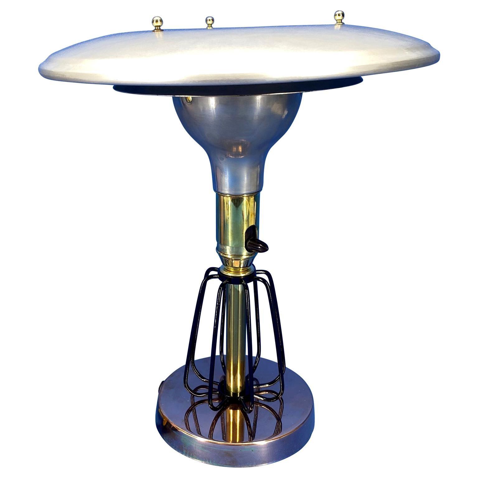 American Mid-Century Modern Brass and Chrome Desk Lamp
