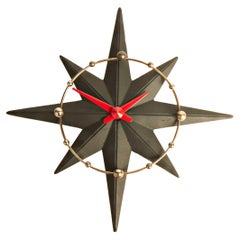 American Mid-Century Modern Chrome, Black & Red Star-Flyte Electric Wall Clock