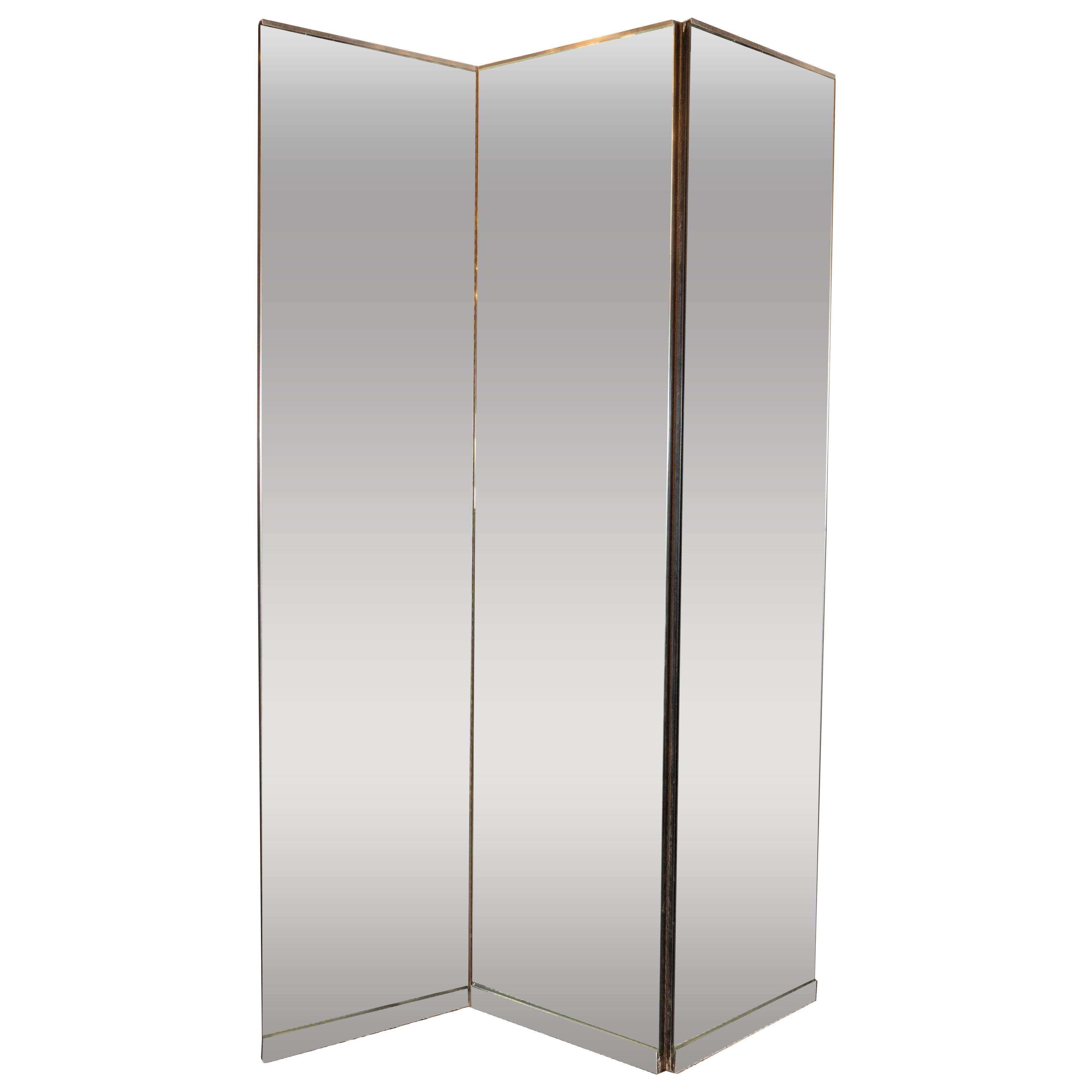 American Mid-Century Modern Monumental Three-Panel Mirrored Screen