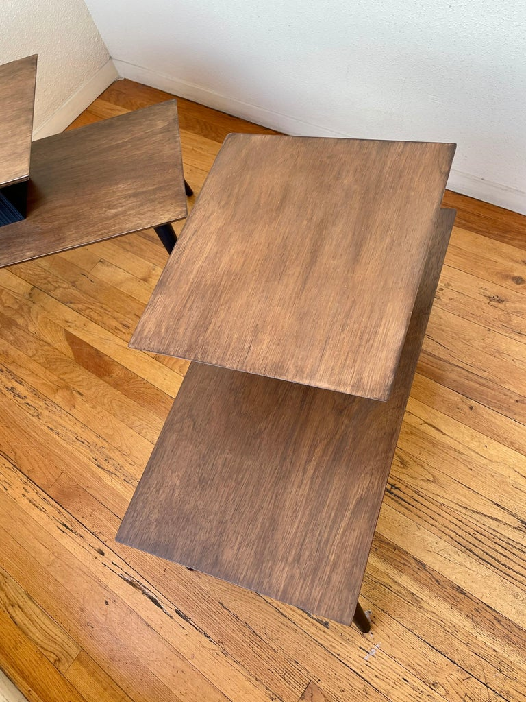 20th Century American Mid-Century Modern Pair of Walnut Step End Tables by Paul Frankl For Sale