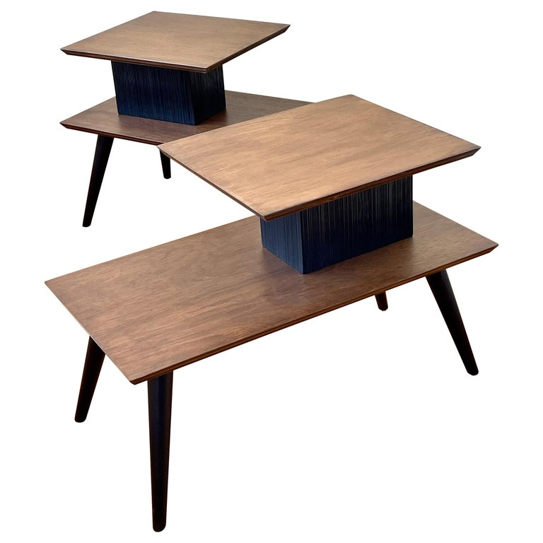 American Mid-Century Modern Pair of Walnut Step End Tables by Paul Frankl For Sale
