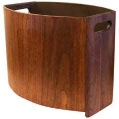 American Mid-Century Modern Rare Large Wastebasket with Handles by Stow Davis
