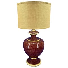 American Mid-Century Modern Red Faux Marble Urn-Shaped Table Lamp
