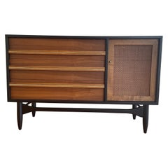 American Mid-Century Modern Small Walnut Credenza with Cane Door