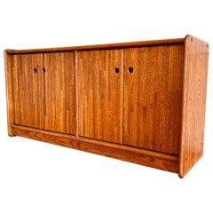 American Mid-Century Modern Solid Oak Credenza California Design