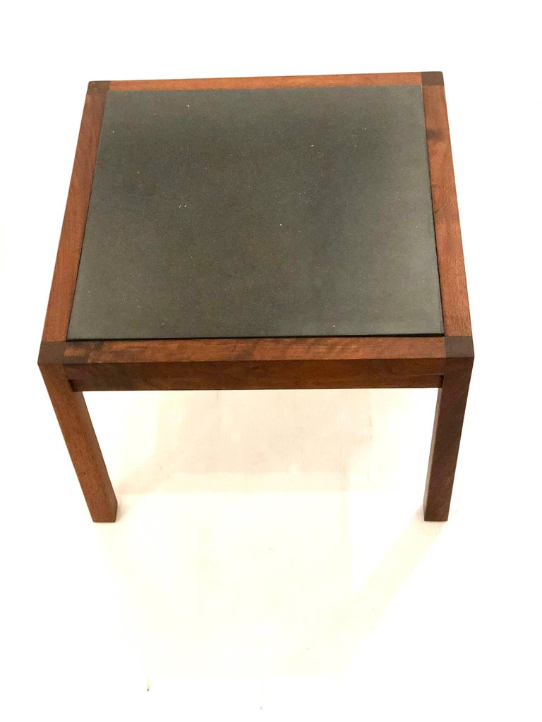 American Mid Century Modern Solid Walnut Frame And Slate End Tables For 1