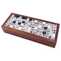 American Mid-Century Modern Solid Walnut & Mini Tiles Jewelry Box