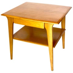 American Mid-Century Modern Tall Table with Drawer by Heywood Wakefield