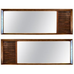 American Mid-Century Modern Walnut and Rosewood Pair of Mirrors